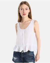GREEN COAST - White Top With Frill - Lyst