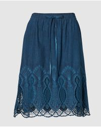 Lauren by Ralph Lauren - Blue Short Skirt With Crochet - Lyst