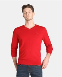 Tommy Hilfiger | Red V-neck Sweater for Men | Lyst