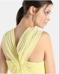 Vera Wang - Yellow Draped Halter Neck Evening Dress - Lyst