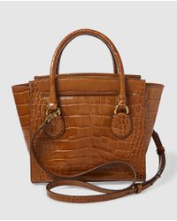 Lauren by Ralph Lauren Small Brown Leather Handbag With Mock-croc Embossing