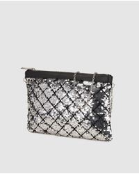 Zendra El Corte Inglés - Metallic Black Clutch With Silver Sequins - Lyst