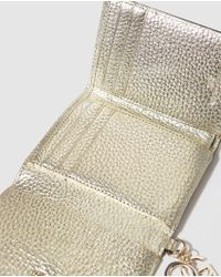 Gloria Ortiz - Metallic Wo Gold-coloured Wallet With Flap Fastening And Pocket On The Outside - Lyst