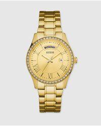 Guess | Metallic Women's Gold-tone Stainless Steel Bracelet Watch 37mm U0764l2 | Lyst