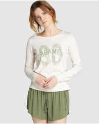 GREEN COAST | Natural Long-sleeve Sweater With A Front Print | Lyst