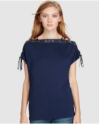 Polo Ralph Lauren - Blue T-shirt With Decorative Drawstring - Lyst
