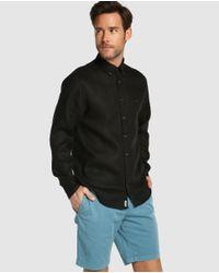 Tommy Hilfiger - Regular-fit Plain Black Linen Shirt for Men - Lyst