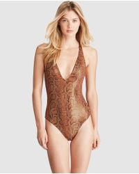 Polo Ralph Lauren - Brown Printed Bathing Suit - Lyst