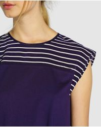 Tommy Hilfiger - Blue Sleeveless Top With Striped Yoke - Lyst