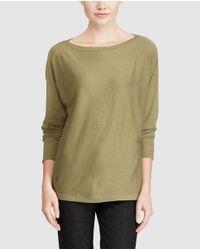 Lauren by Ralph Lauren - Green Long-sleeve Boatneck Sweater - Lyst