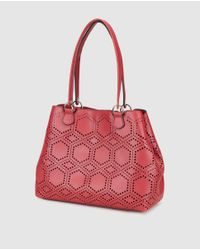 El Corte Inglés - Large Red Shopper Bag With Perforations - Lyst