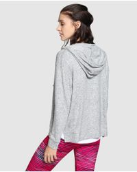 GREEN COAST - Gray Athletic Sweatshirt From The Go Run Collection With Zip - Lyst