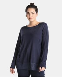 Couchel - Blue Plus Size Sweater With Rhinestones And Shirt-tails - Lyst