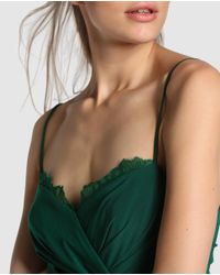 Vera Wang - Green Evening Dress With Draping And Lace - Lyst