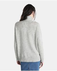 Vero Moda - Gray Oversized Sweater With A Polo Neck - Lyst