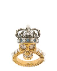 Alexander McQueen - Metallic King Skull Brass Ring - Lyst