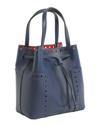 Tory Burch - Blue Block T Leather Bucket Bag - Lyst