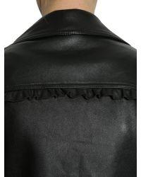 MICHAEL Michael Kors - Black Leather Biker Jacket With Ruffled Details - Lyst