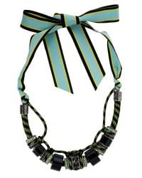 Lanvin - Black Polly Necklace With Ribbon Closure - Lyst