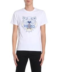 2e1cb6f4 Lyst - KENZO Round Collar T-shirt With Printed Tiger in White for Men