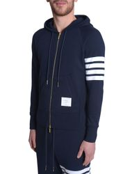 Thom Browne - Blue Felpa Con Cappuccio E Zip for Men - Lyst