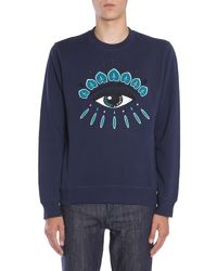 KENZO - Gray Round Collar Cottton Sweatshirt With Embroidered Eye for Men - Lyst
