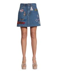 Marc Jacobs - Blue Cotton Denim Skirt With Patch - Lyst