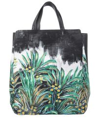 Carven - Black Palm Varenne Leather Tote - Lyst