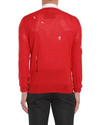 Alexander McQueen - Red Distressed Crewneck Wool & Silk-blend Sweater for Men - Lyst