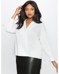 Eloquii - White Cross Front Hi Lo Collared Blouse - Lyst