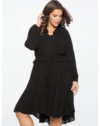 Eloquii - Black Tie Waist Ruffle Dress - Lyst