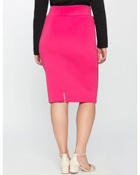 Eloquii - Pink Neoprene Pencil Skirt - Lyst