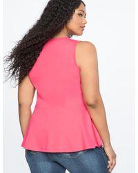 Eloquii - Pink Sleeveless Cascading Ruffle Top - Lyst