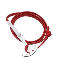 Miansai - Red Silver Anchor Leather Bracelet - Lyst