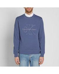 Calvin Klein - Blue Hasto Embossed Logo Crew Sweat for Men - Lyst