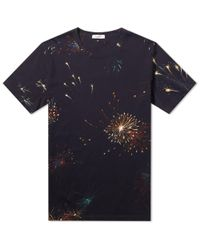 Valentino - Blue Fireworks Print Tee for Men - Lyst