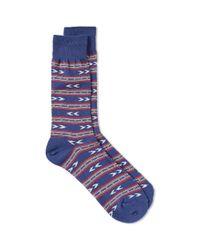 Anonymous Ism - Blue Stripes & Arrow Crew Sock for Men - Lyst