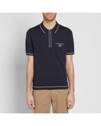 Fred Perry Authentic - Blue Fred Perry Fine Tipped Knitted Shirt for Men - Lyst