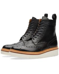 GRENSON - Black Fred V Brogue Boot - Lyst