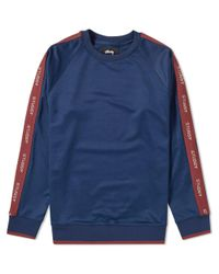 Stussy Blue Poly Track Crew Sweat for men