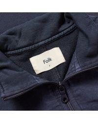 Folk - Blue Combination Panel Funnel Neck Knit for Men - Lyst