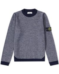 Stone Island - Gray Light Wool Colour Block Crew Knit for Men - Lyst