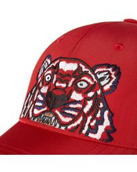 KENZO - Red Tiger Canvas Cap for Men - Lyst