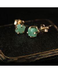Erica Weiner - Green Raw Emerald Earrings - Lyst