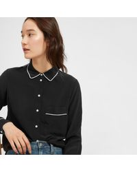 Everlane - Black The Piped Silk Pocket Shirt - Lyst