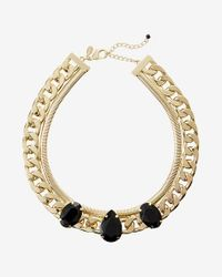 Express | Metallic Faceted Stone Status Link Chain Collar Necklace | Lyst