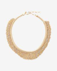 Express - Metallic Two Tone Metal Fringe Collar Necklace - Lyst