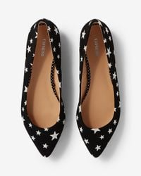 Express - Black Star Pointed Toe Flat - Lyst