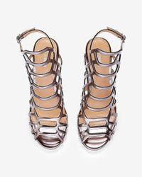 Express - Metallic Caged Heeled Sandal - Lyst