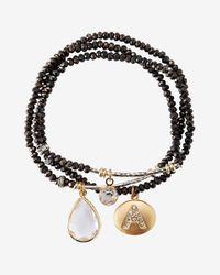 Express | Black Faceted A Initial Stretch Bracelet | Lyst